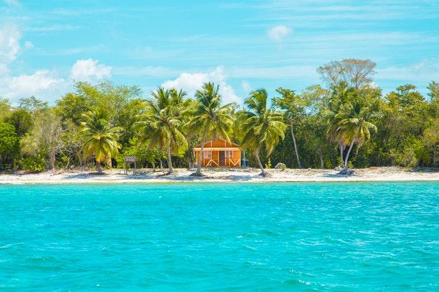 Dom pri pláži, exotika, more, palmy