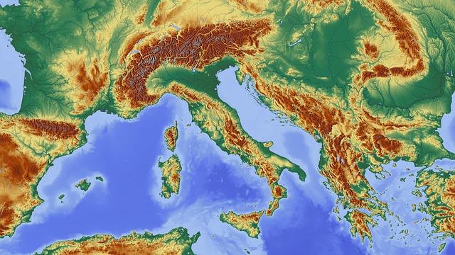 mapa krajiny z vrchu